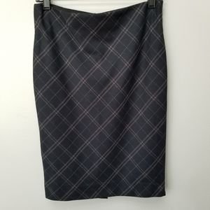 Limited Black Plaid Pencil Skirt Faux Leather Trim